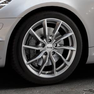 ADVANTI Turba hd Hyper dark Felge mit Reifen silber in 17Zoll Winterfelge Alufelge auf silbernem Mercedes SLK Typ R171 ⬇️ mit 15mm Tieferlegung ⬇️ Industriehalle 1 Thumbnail