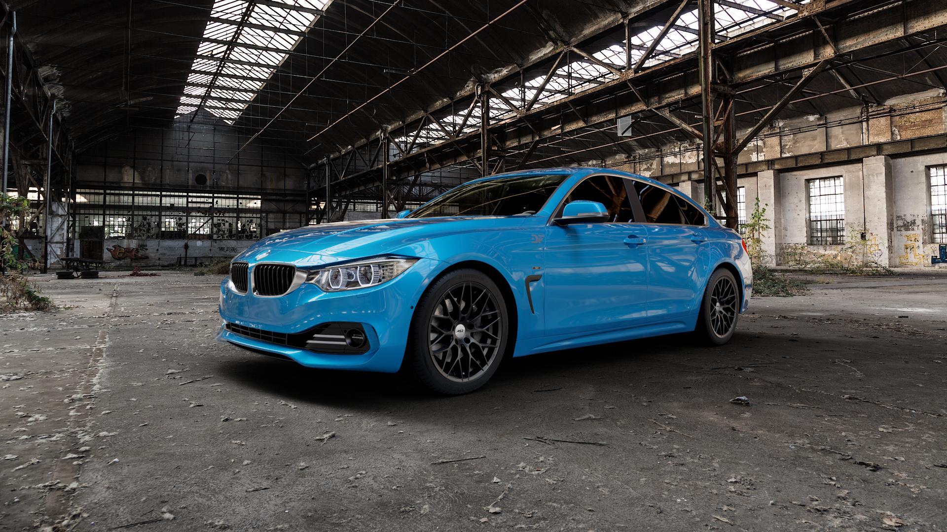 AEZ Antigua Black matt Felge mit Reifen schwarz in 18Zoll Winterfelge Alufelge auf hellblau BMW 418d Typ F36 (Gran Coupe) 420d xDrive 420i 428i 435i 430d 440i 418i 430i 425d ⬇️ mit 15mm Tieferlegung ⬇️ Industriehalle 1 Camera_000