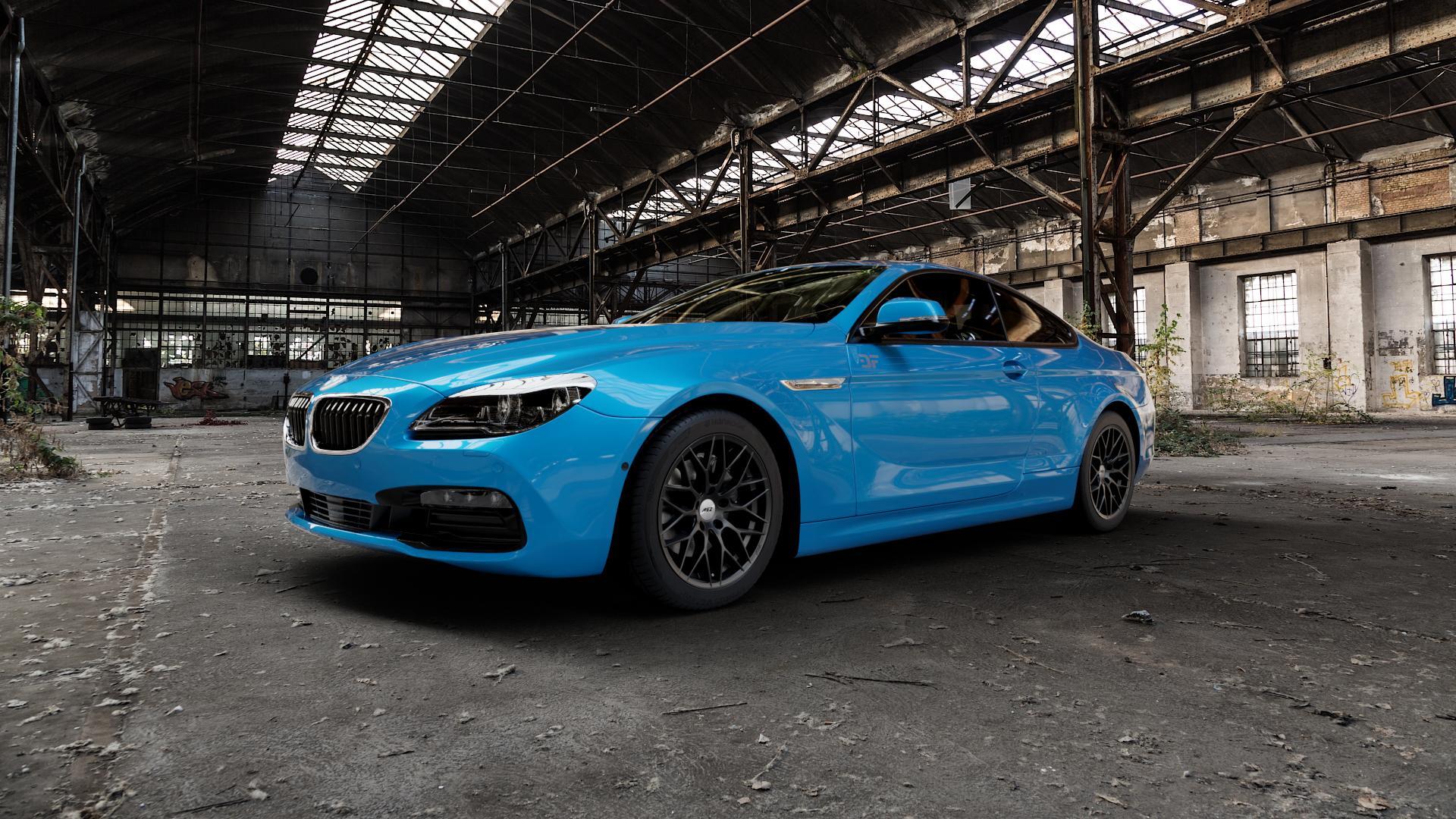 AEZ Antigua Black matt Felge mit Reifen schwarz in 18Zoll Winterfelge Alufelge auf hellblau BMW 640i Typ F13 (Coupe) 650i 640d xDrive ⬇️ mit 15mm Tieferlegung ⬇️ Industriehalle 1 Camera_000
