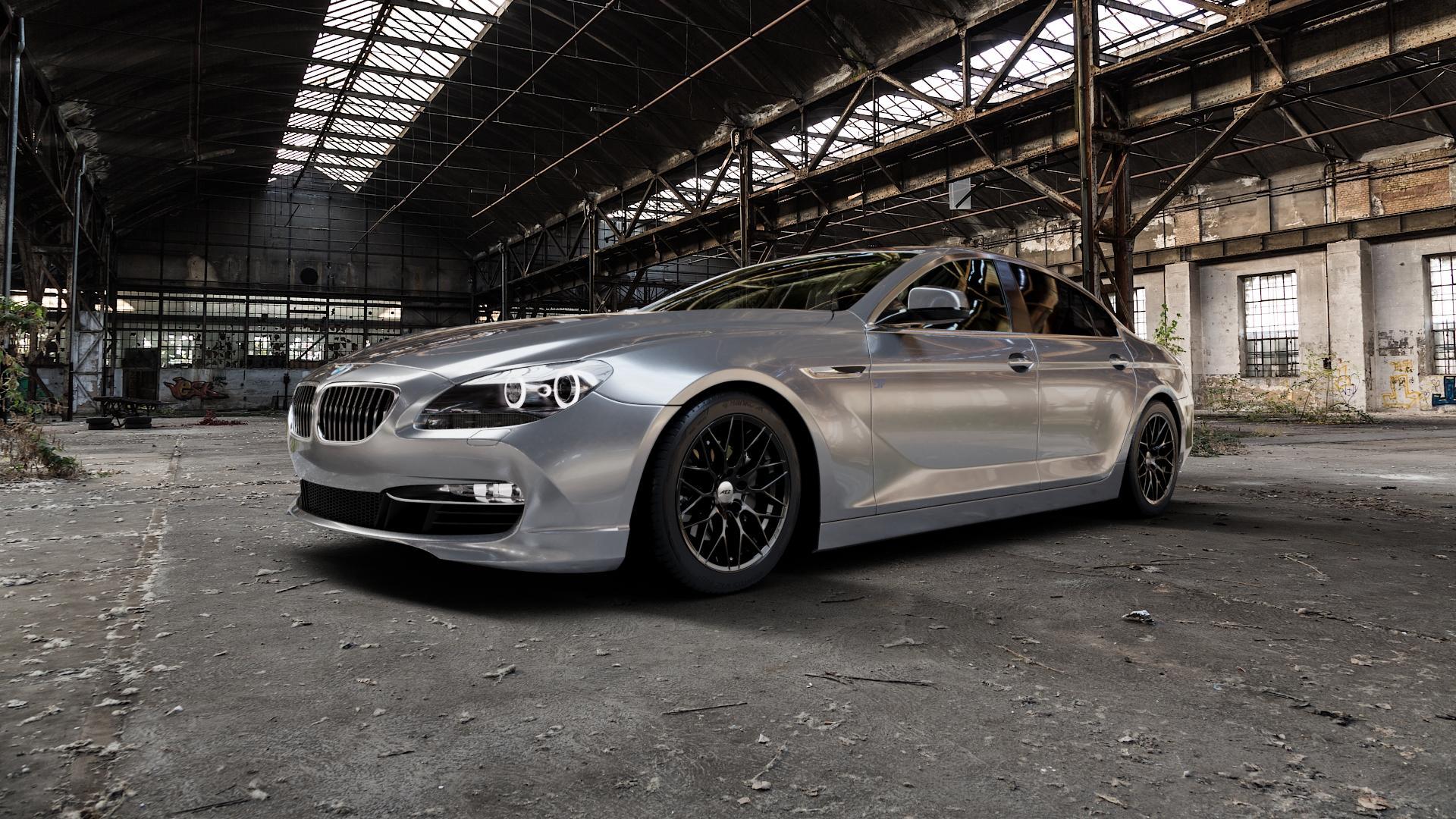 AEZ ANTIGUA BLACK MATT Felge mit Reifen schwarz in 18Zoll Winterfelge Alufelge auf silbernem BMW 6er F06 Gran Coupe (6C) ⬇️ mit 15mm Tieferlegung ⬇️ Industriehalle 1 Camera_000