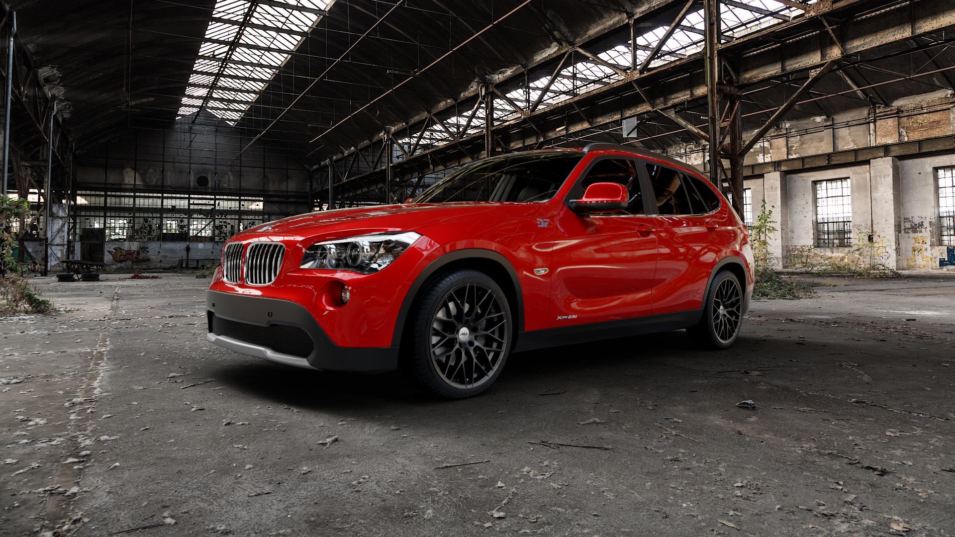 AEZ Antigua Black matt Felge mit Reifen schwarz in 19Zoll Winterfelge Alufelge auf rotem BMW X1 Typ E84 (X1, X-N1, X1-N1) ⬇️ mit 15mm Tieferlegung ⬇️ Industriehalle 1 Camera_000