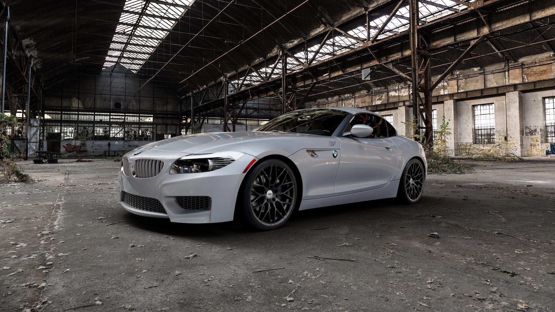 AEZ Antigua Black matt Felge mit Reifen schwarz in 19Zoll Winterfelge Alufelge auf silbernem BMW Z4 Roadster Typ E89 (Z89, ZR) ⬇️ mit 15mm Tieferlegung ⬇️ Industriehalle 1 Camera_000