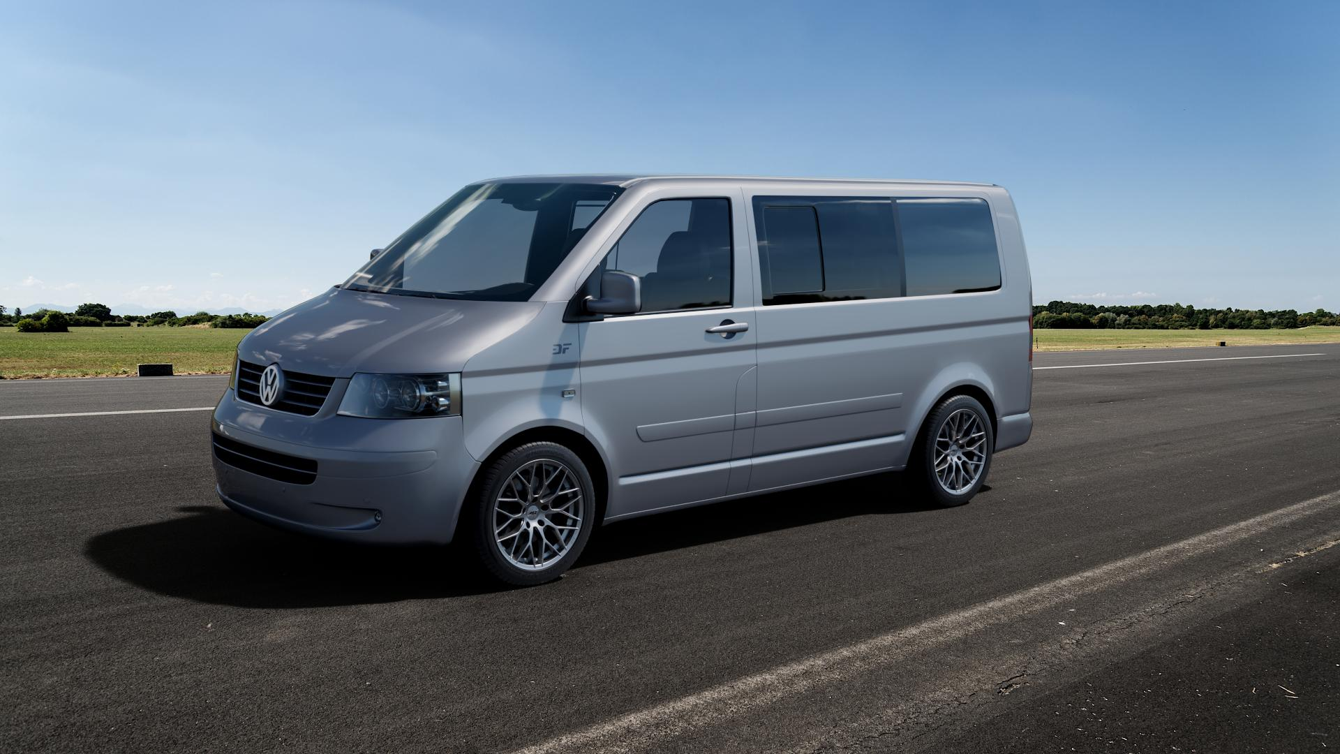 AEZ Antigua High gloss Felge mit Reifen silber in 18Zoll Winterfelge Alufelge auf silbernem Volkswagen (VW) T5 Business California Caravelle Kombi Multivan ⬇️ mit 15mm Tieferlegung ⬇️ Big_Vehicle_Airstrip_1 Frontansicht_1