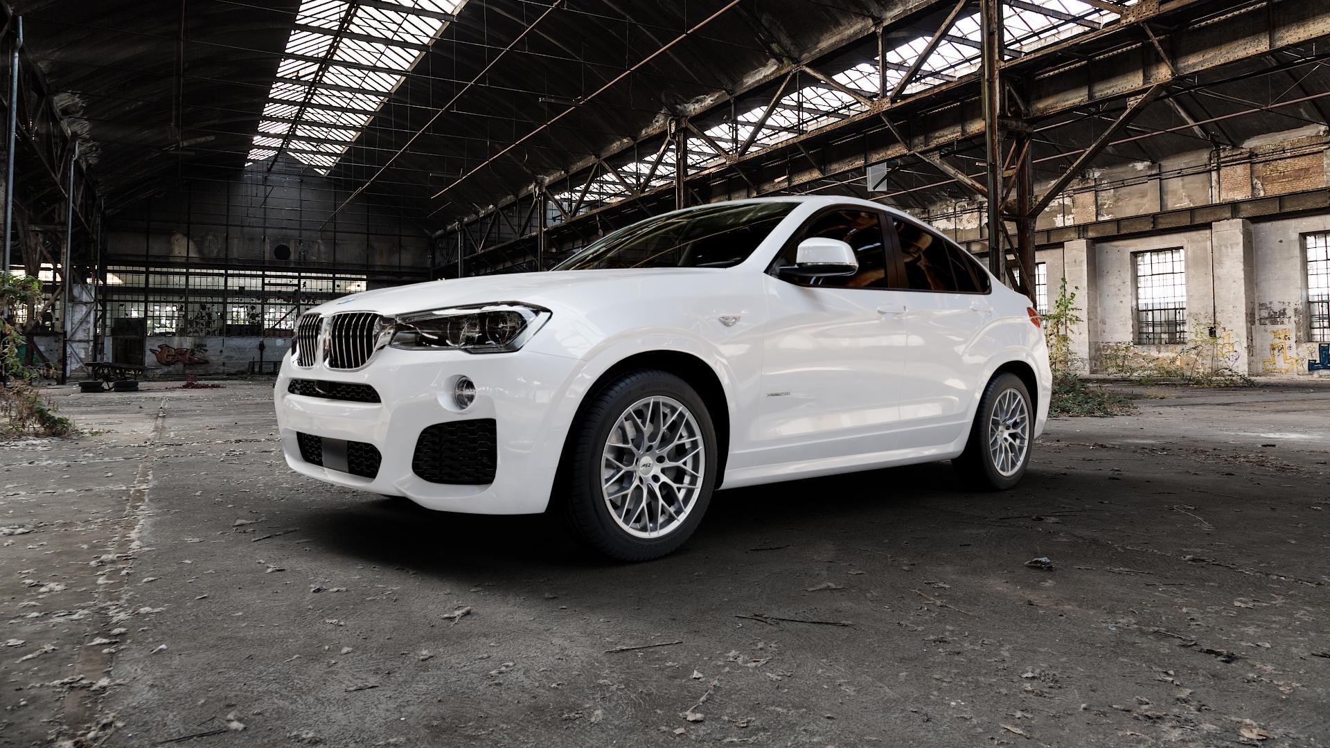 AEZ Antigua High gloss Felge mit Reifen silber in 18Zoll Winterfelge Alufelge auf weissem BMW X4 Typ F26 (X3, X-N1) ⬇️ mit 15mm Tieferlegung ⬇️ Industriehalle 1 Camera_000