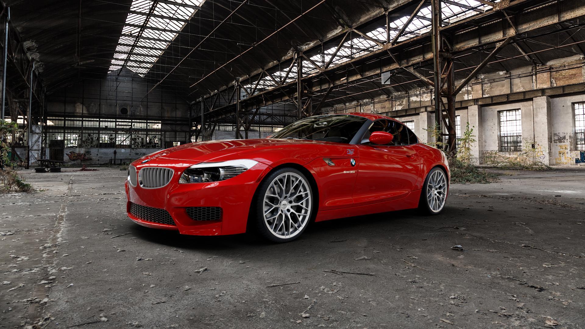 AEZ Antigua High gloss Felge mit Reifen silber in 19Zoll Winterfelge Alufelge auf rotem BMW Z4 Roadster Typ E89 (Z89, ZR) ⬇️ mit 15mm Tieferlegung ⬇️ Industriehalle 1 Camera_000