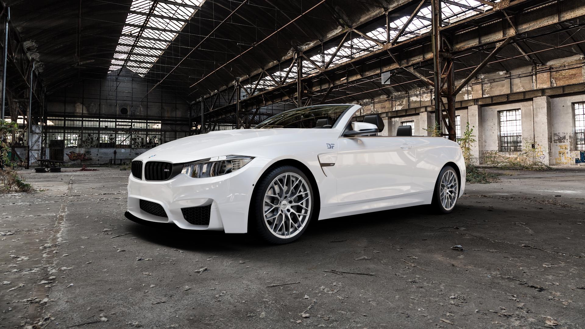 AEZ Antigua High gloss Felge mit Reifen silber in 19Zoll Winterfelge Alufelge auf weissem BMW M4 Typ F83 (Cabrio) 3,0l 317kW (431 PS) ⬇️ mit 15mm Tieferlegung ⬇️ Industriehalle 1 Camera_000