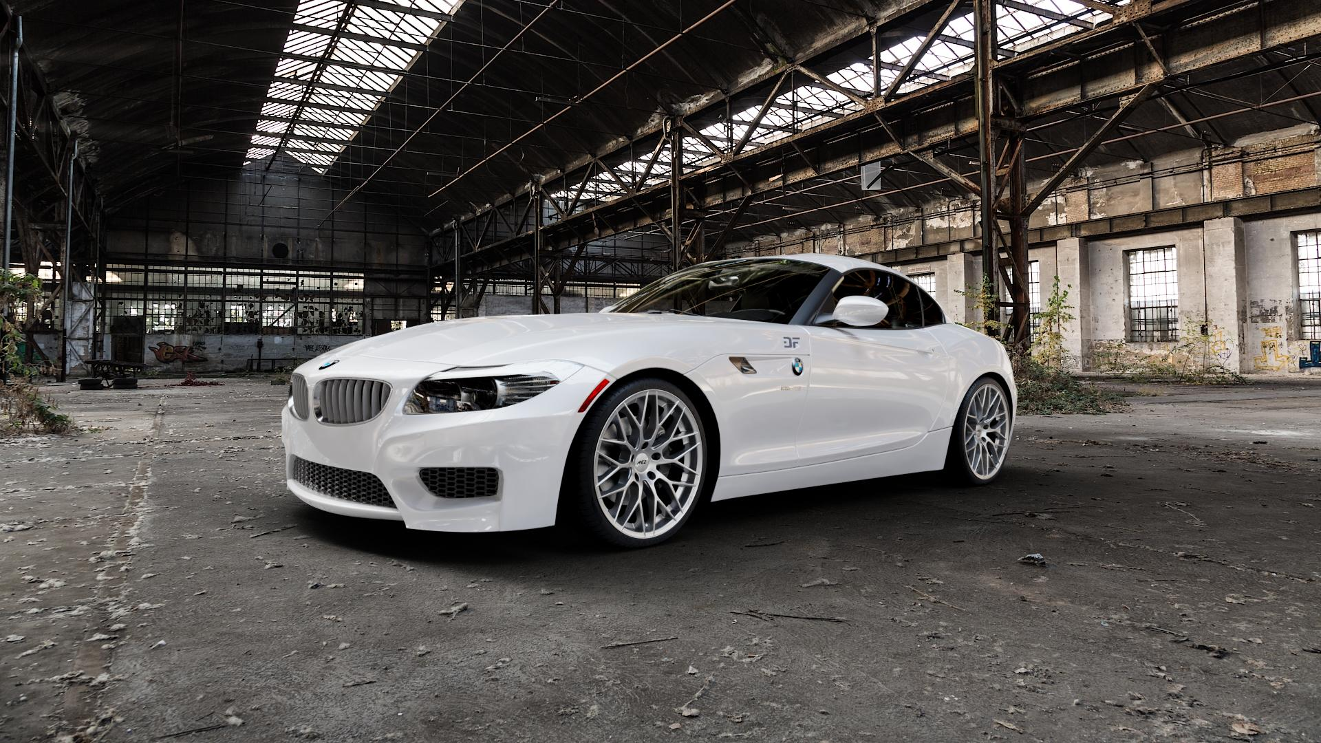 AEZ Antigua High gloss Felge mit Reifen silber in 19Zoll Winterfelge Alufelge auf weissem BMW Z4 Roadster Typ E89 (Z89, ZR) ⬇️ mit 15mm Tieferlegung ⬇️ Industriehalle 1 Camera_000