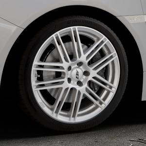 AEZ Cliff High gloss Felge mit Reifen silber in 18Zoll Winterfelge Alufelge auf silbernem Subaru WRX Typ V1 2,5l STI AWD 221kW (300 PS) ⬇️ mit 15mm Tieferlegung ⬇️ Industriehalle 1 Thumbnail