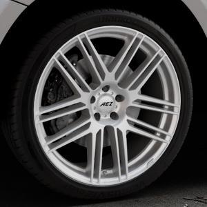 AEZ Cliff High gloss Felge mit Reifen silber in 21Zoll Winterfelge Alufelge auf silbernem Audi Q5 I Typ 8R ⬇️ mit 15mm Tieferlegung ⬇️ Industriehalle 1 Thumbnail