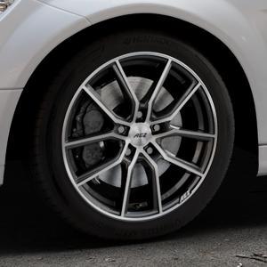 AEZ Raise Gunmetal polished Felge mit Reifen grau silber mehrfarbig in 17Zoll Alufelge auf silbernem Mercedes C-Klasse Typ W204 Limousine ⬇️ mit 15mm Tieferlegung ⬇️ Industriehalle 1 Thumbnail