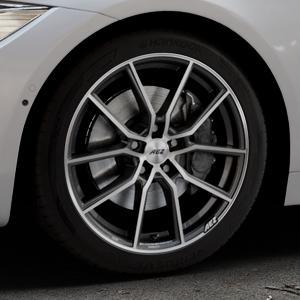 AEZ Raise Gunmetal polished Felge mit Reifen grau silber mehrfarbig in 18Zoll Alufelge auf silbernem BMW 418d Typ F36 (Gran Coupe) 420d xDrive 420i 428i 435i 430d 440i 418i 430i 425d ⬇️ mit 15mm Tieferlegung ⬇️ Industriehalle 1 Thumbnail