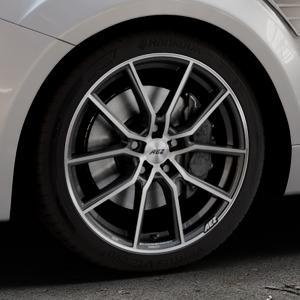AEZ Raise Gunmetal polished Felge mit Reifen grau silber mehrfarbig in 18Zoll Alufelge auf silbernem Ford Focus II Typ DA3 (Schrägheck) 2,5l RS 224kW (305 PS) RS500 257kW (349 ⬇️ mit 15mm Tieferlegung ⬇️ Industriehalle 1 Thumbnail