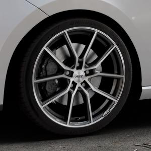 AEZ Raise Gunmetal polished Felge mit Reifen grau silber mehrfarbig in 18Zoll Alufelge auf silbernem Seat Leon Typ 5F ⬇️ mit 15mm Tieferlegung ⬇️ Industriehalle 1 Thumbnail