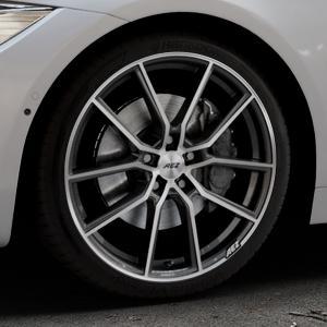 AEZ Raise Gunmetal polished Felge mit Reifen grau silber mehrfarbig in 19Zoll Alufelge auf silbernem BMW 418d Typ F36 (Gran Coupe) 420d xDrive 420i 428i 435i 430d 440i 418i 430i 425d ⬇️ mit 15mm Tieferlegung ⬇️ Industriehalle 1 Thumbnail