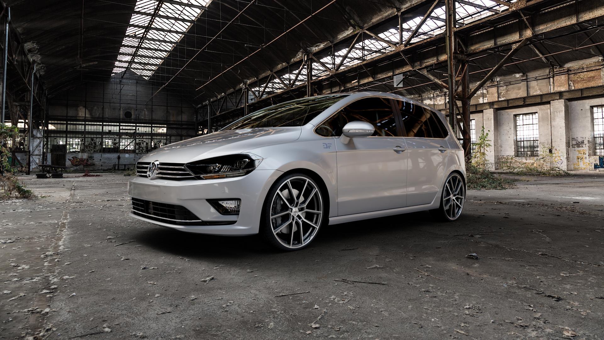 AEZ Raise Gunmetal polished Felge mit Reifen grau silber mehrfarbig in 20Zoll Alufelge auf silbernem Volkswagen (VW) Golf 7 Sportsvan ⬇️ mit 15mm Tieferlegung ⬇️ Industriehalle 1 Camera_000