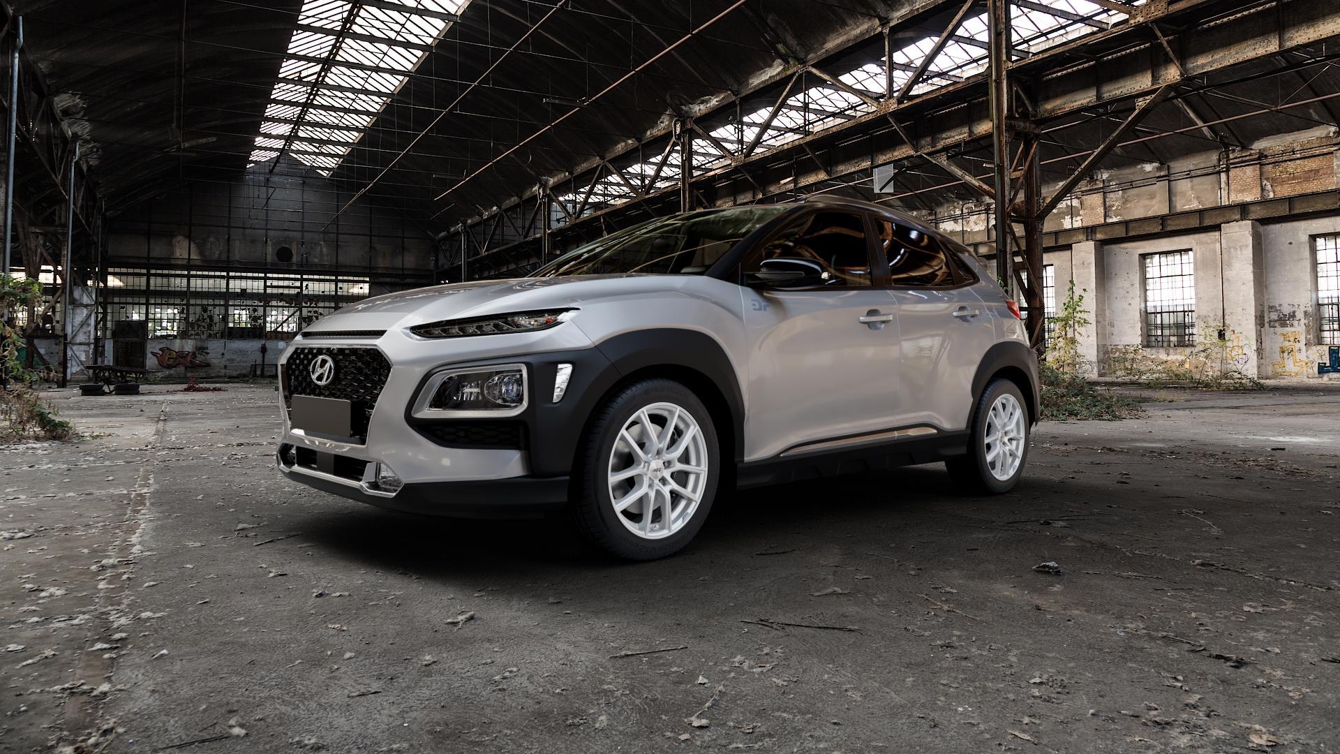 AEZ Raise High gloss Felge mit Reifen in 17Zoll Winterfelge Alufelge auf silbernem Hyundai Kona Typ OS ⬇️ mit 15mm Tieferlegung ⬇️ Industriehalle 1 Camera_000