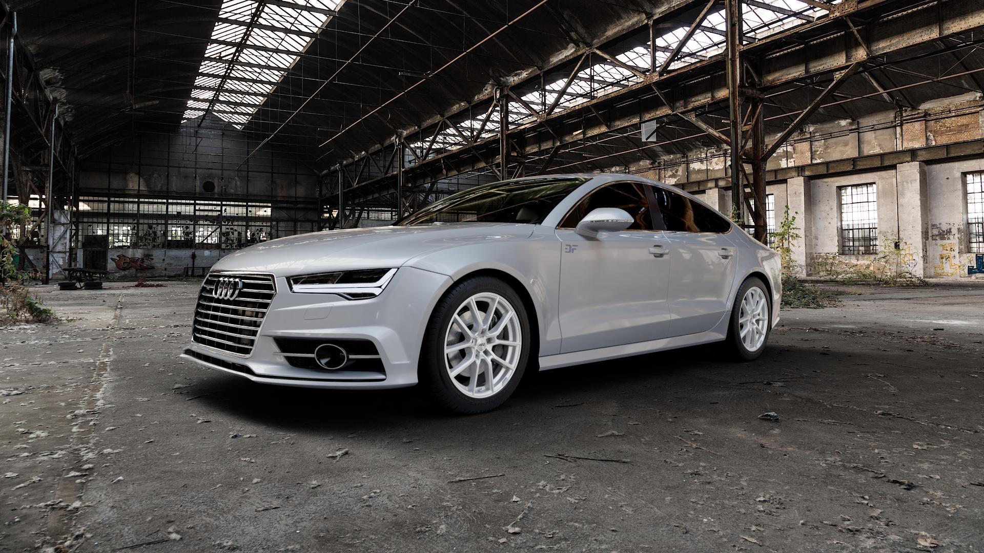 AEZ Raise High gloss Felge mit Reifen in 18Zoll Winterfelge Alufelge auf silbernem Audi A7 Typ 4G (Sportback) Facelift ⬇️ mit 15mm Tieferlegung ⬇️ Industriehalle 1 Camera_000