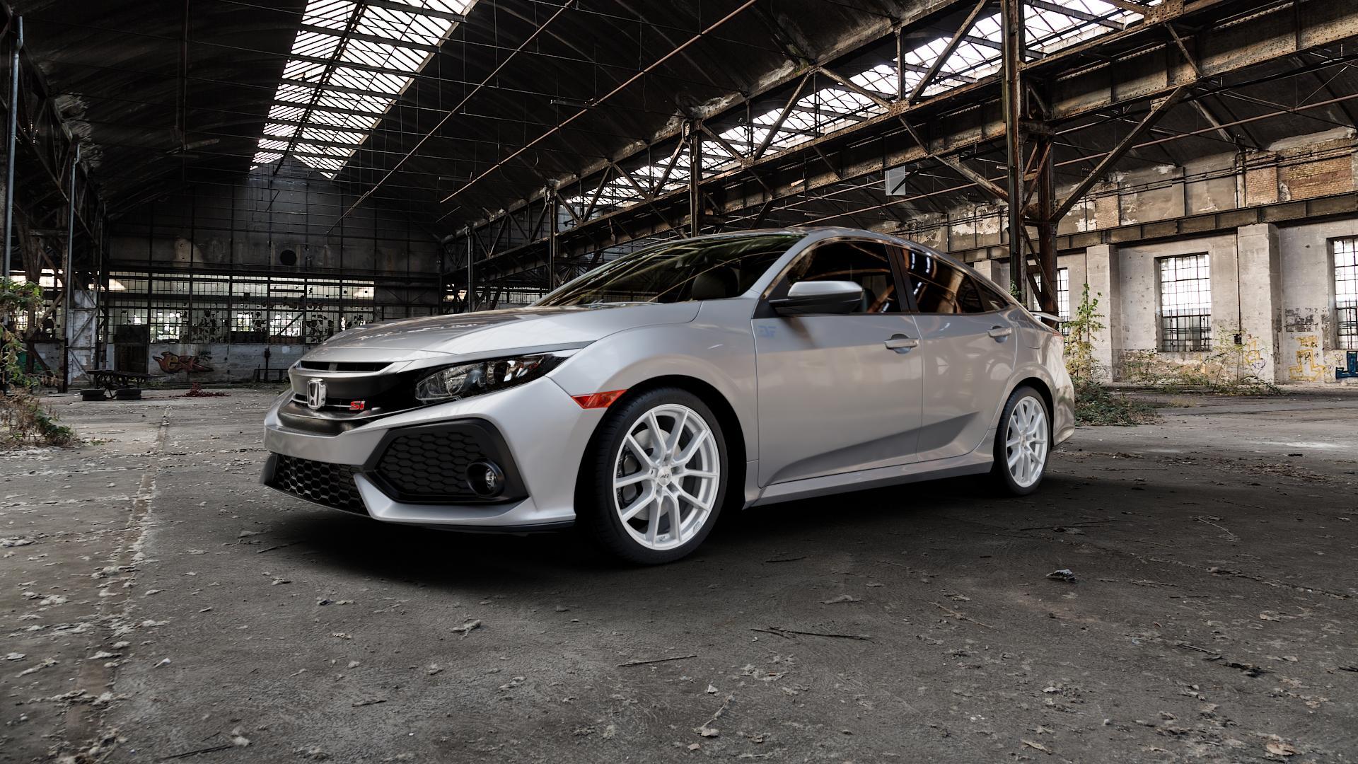 AEZ RAISE HIGH GLOSS Felge mit Reifen in 18Zoll Winterfelge Alufelge auf silbernem Honda Civic 10 Schrägheck (FC) ⬇️ mit 15mm Tieferlegung ⬇️ Industriehalle 1 Camera_000