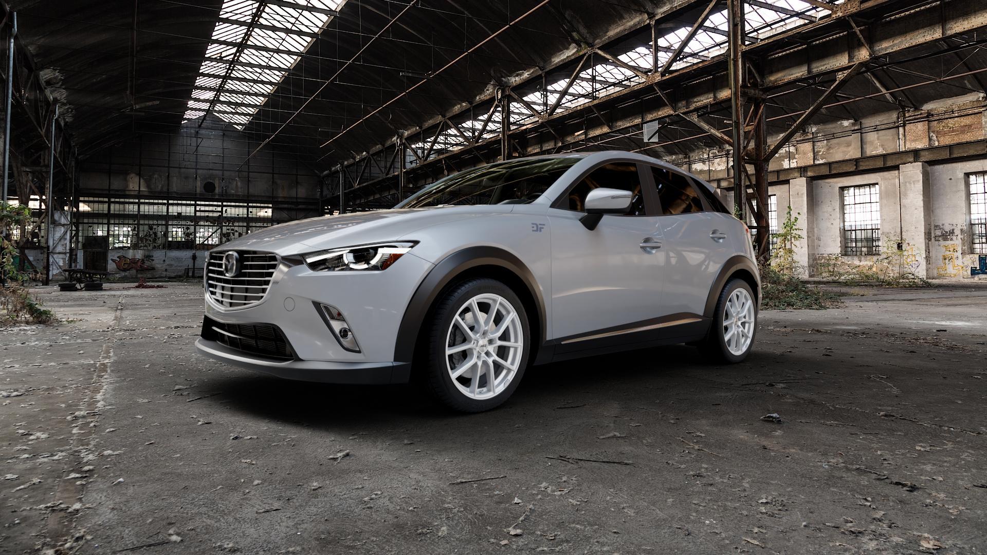 AEZ Raise High gloss Felge mit Reifen in 18Zoll Winterfelge Alufelge auf silbernem Mazda CX-3 Typ DJ1 ⬇️ mit 15mm Tieferlegung ⬇️ Industriehalle 1 Camera_000