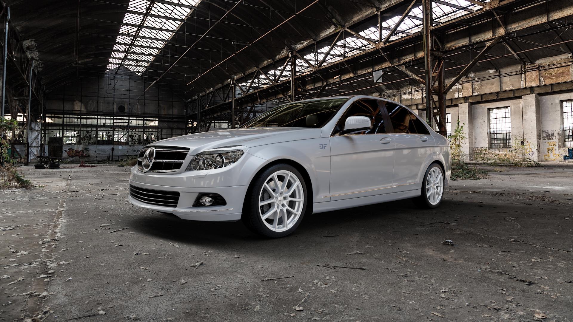 AEZ Raise High gloss Felge mit Reifen in 18Zoll Winterfelge Alufelge auf silbernem Mercedes C-Klasse Typ W204 Limousine ⬇️ mit 15mm Tieferlegung ⬇️ Industriehalle 1 Camera_000