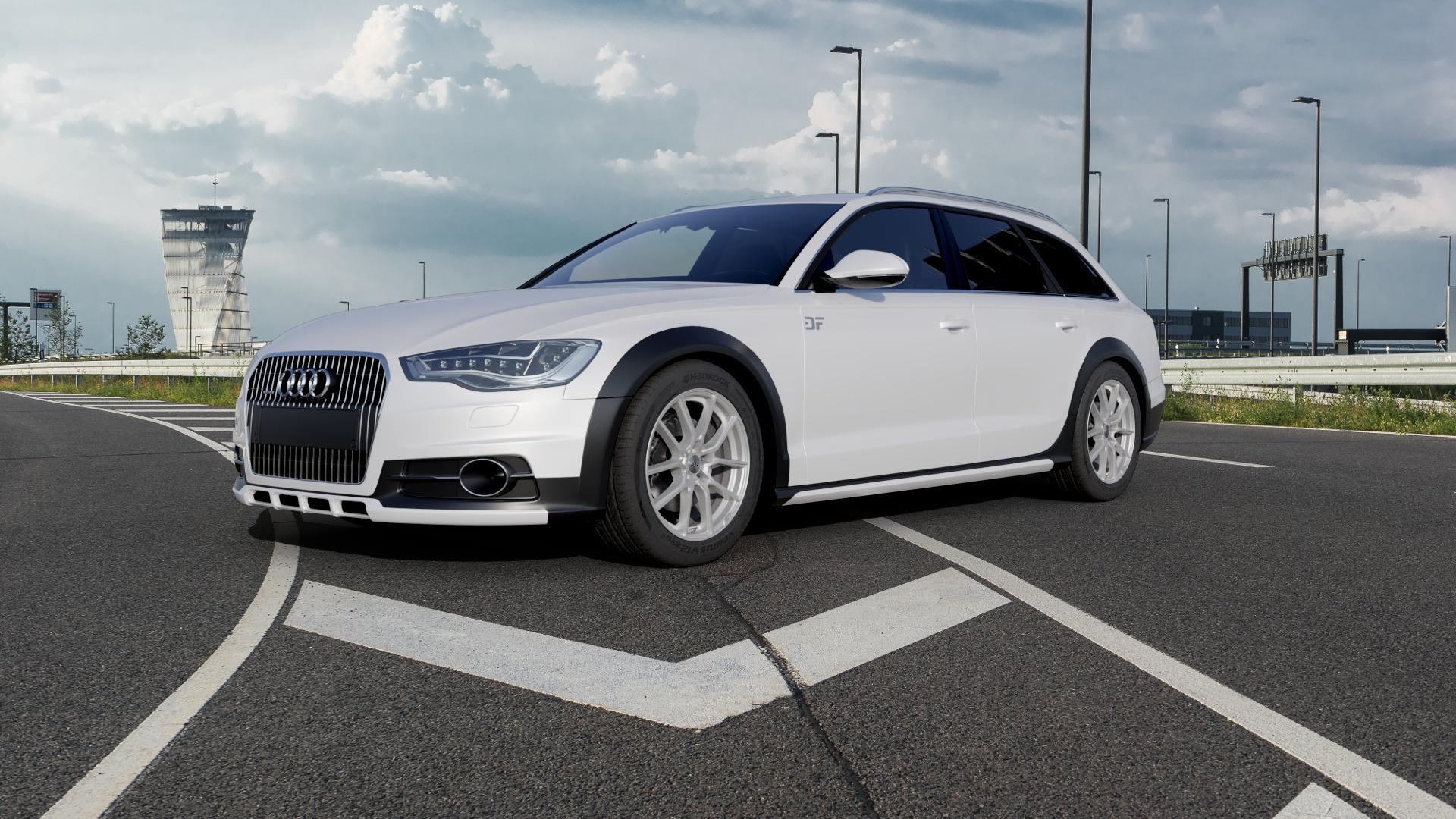 AEZ Raise High gloss Felge mit Reifen in 18Zoll Winterfelge Alufelge auf weissem Audi A6 Allroad Quattro Typ 4G/C7 ⬇️ mit 15mm Tieferlegung ⬇️ Autobahn_1 Camera_000