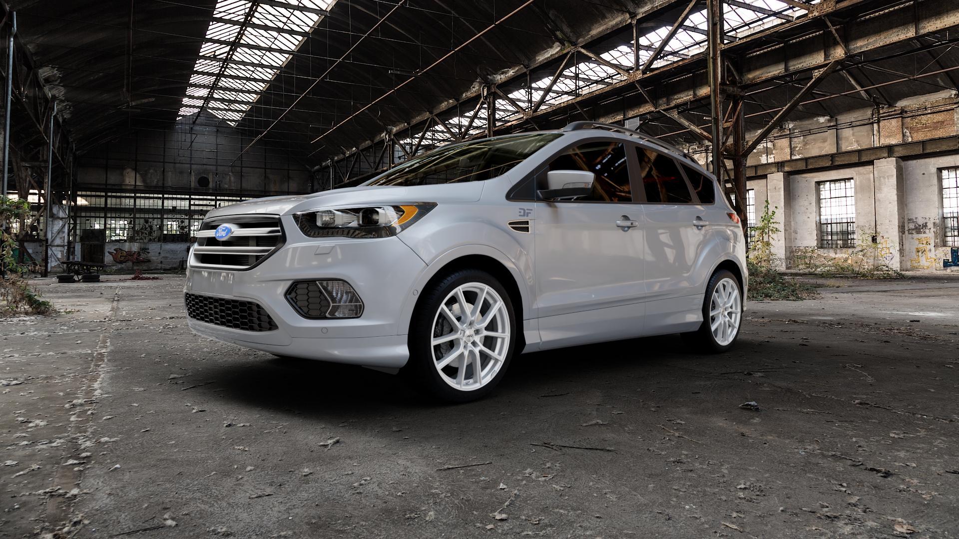 AEZ Raise High gloss Felge mit Reifen in 19Zoll Winterfelge Alufelge auf silbernem Ford Kuga II Facelift (15->) (17->) ⬇️ mit 15mm Tieferlegung ⬇️ Industriehalle 1 Camera_000