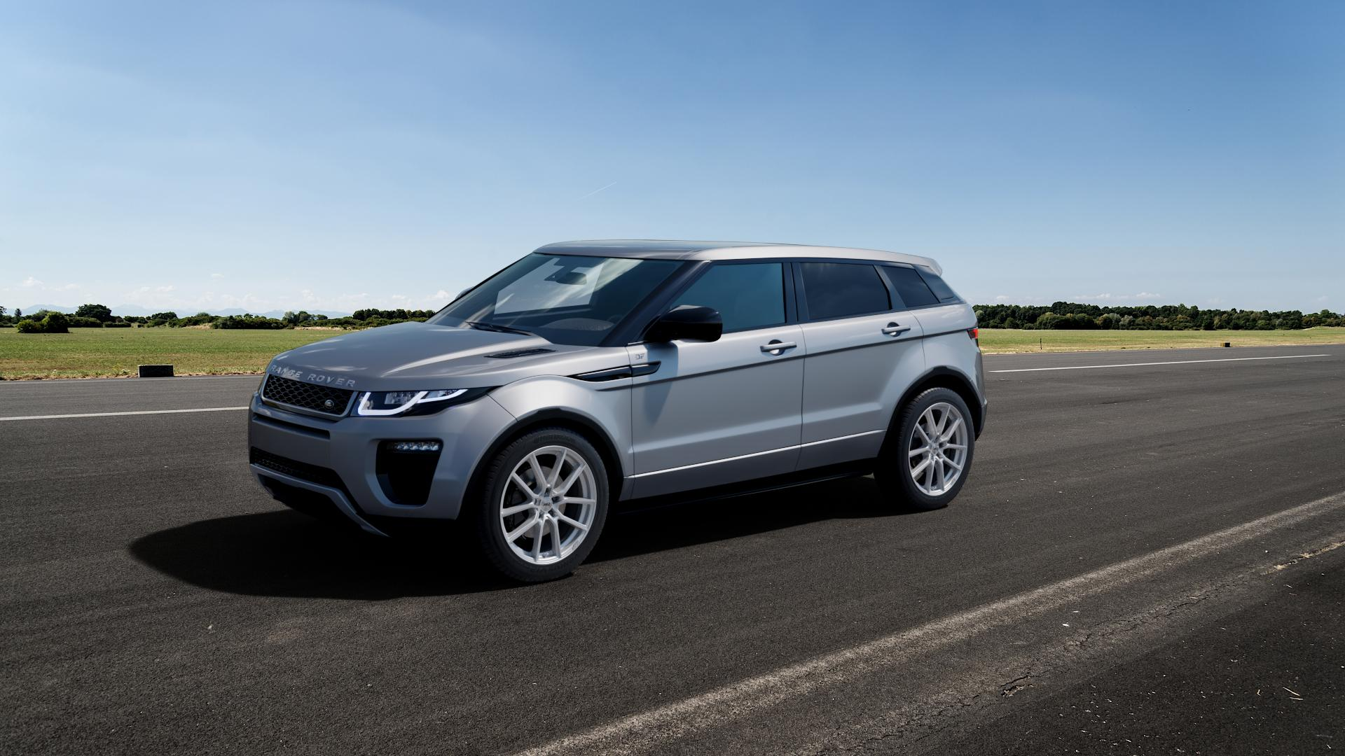 AEZ Raise High gloss Felge mit Reifen in 19Zoll Winterfelge Alufelge auf silbernem Land Rover Range Evoque Typ LV Facelift ⬇️ mit 15mm Tieferlegung ⬇️ Big_Vehicle_Airstrip_1 Frontansicht_1