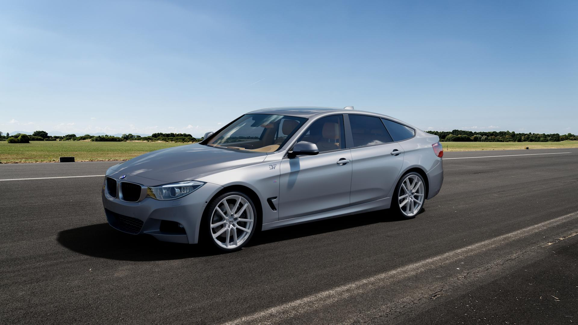 AEZ Raise High gloss Felge mit Reifen in 20Zoll Winterfelge Alufelge auf silbernem BMW 335i xDrive Typ F34 (Gran Turismo) ⬇️ mit 15mm Tieferlegung ⬇️ Big_Vehicle_Airstrip_1 Frontansicht_1