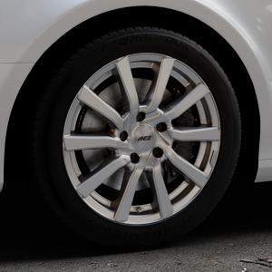 AEZ Reef Silver Felge mit Reifen silber in 17Zoll Winterfelge Alufelge auf silbernem Audi A4 Typ 8K2/B8 (Limousine) ⬇️ mit 15mm Tieferlegung ⬇️ Industriehalle 1 Thumbnail