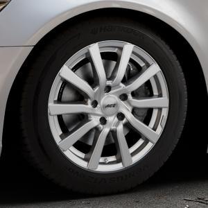 AEZ Reef Silver Felge mit Reifen silber in 17Zoll Winterfelge Alufelge auf silbernem Audi A6 Typ 4G/C7 (Limousine) ⬇️ mit 15mm Tieferlegung ⬇️ Industriehalle 1 Thumbnail