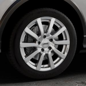 AEZ Reef Silver Felge mit Reifen silber in 17Zoll Winterfelge Alufelge auf silbernem Audi Q2 Typ GA ⬇️ mit 15mm Tieferlegung ⬇️ Industriehalle 1 Thumbnail