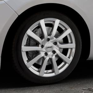AEZ Reef Silver Felge mit Reifen silber in 17Zoll Winterfelge Alufelge auf silbernem Ford Mondeo IV Limousine Typ BA7 Turnier Fließheck ⬇️ mit 15mm Tieferlegung ⬇️ Industriehalle 1 Thumbnail