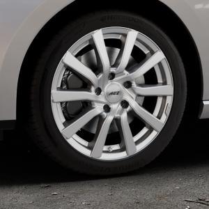 AEZ Reef Silver Felge mit Reifen silber in 17Zoll Winterfelge Alufelge auf silbernem Seat Leon Typ 5F ST Facelift ⬇️ mit 15mm Tieferlegung ⬇️ Industriehalle 1 Thumbnail