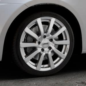 AEZ Reef Silver Felge mit Reifen silber in 17Zoll Winterfelge Alufelge auf silbernem Suzuki Swift V Typ NZ FZ ⬇️ mit 15mm Tieferlegung ⬇️ Industriehalle 1 Thumbnail