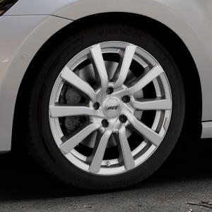 AEZ Reef Silver Felge mit Reifen silber in 17Zoll Winterfelge Alufelge auf silbernem Volkswagen (VW) Golf 7 Sportsvan ⬇️ mit 15mm Tieferlegung ⬇️ Industriehalle 1 Thumbnail