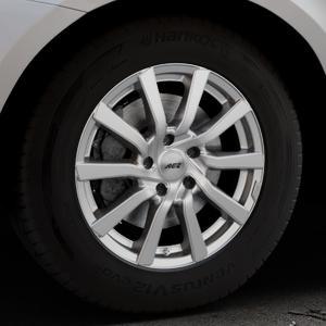 AEZ Reef Silver Felge mit Reifen silber in 17Zoll Winterfelge Alufelge auf silbernem Volvo XC60 Typ D Facelift ⬇️ mit 15mm Tieferlegung ⬇️ Industriehalle 1 Thumbnail