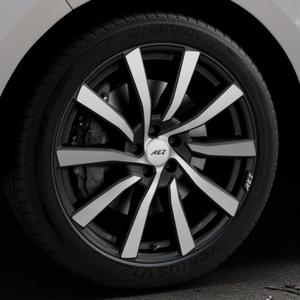 AEZ Reef SUV Black matt/polished Felge mit Reifen silber schwarz in 20Zoll Alufelge auf silbernem Ford Edge Typ SBF ⬇️ mit 15mm Tieferlegung ⬇️ Industriehalle 1 Thumbnail