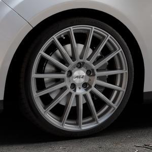 AEZ Steam Graphite matt Felge mit Reifen grau in 19Zoll Winterfelge Alufelge auf silbernem Ford Focus III Typ DYB (Turnier) ⬇️ mit 15mm Tieferlegung ⬇️ Industriehalle 1 Thumbnail