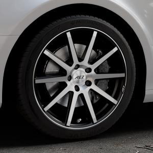 AEZ Straight Black/polished front Felge mit Reifen silber schwarz mehrfarbig in 18Zoll Alufelge auf silbernem Audi A4 Typ 8K2/B8 (Limousine) ⬇️ mit 15mm Tieferlegung ⬇️ Industriehalle 1 Thumbnail