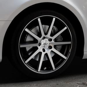 AEZ Straight Black/polished front Felge mit Reifen silber schwarz mehrfarbig in 18Zoll Alufelge auf silbernem Audi A4 Typ 8K5/B8 (Avant) ⬇️ mit 15mm Tieferlegung ⬇️ Industriehalle 1 Thumbnail