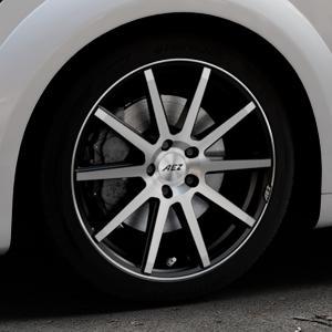 AEZ Straight Black/polished front Felge mit Reifen silber schwarz mehrfarbig in 18Zoll Alufelge auf silbernem Audi TT III Typ 8S (Coupé) (Roadster) ⬇️ mit 15mm Tieferlegung ⬇️ Industriehalle 1 Thumbnail
