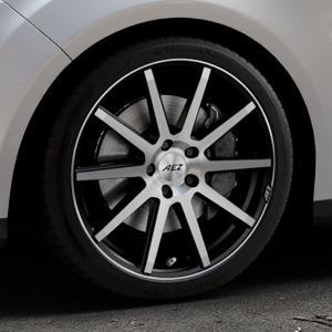 AEZ Straight Black/polished front Felge mit Reifen silber schwarz mehrfarbig in 18Zoll Alufelge auf silbernem Ford Focus III Typ DYB (Turnier) ⬇️ mit 15mm Tieferlegung ⬇️ Industriehalle 1 Thumbnail