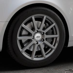 AEZ Straight Graphite matt Felge mit Reifen grau in 17Zoll Winterfelge Alufelge auf silbernem Audi A6 Typ 4F/C6 (Avant) ⬇️ mit 15mm Tieferlegung ⬇️ Industriehalle 1 Thumbnail