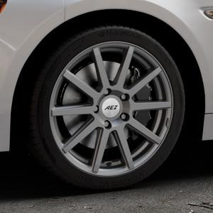AEZ Straight Graphite matt Felge mit Reifen grau in 17Zoll Winterfelge Alufelge auf silbernem Fiat 124 Spider Typ NF ⬇️ mit 15mm Tieferlegung ⬇️ Industriehalle 1 Thumbnail