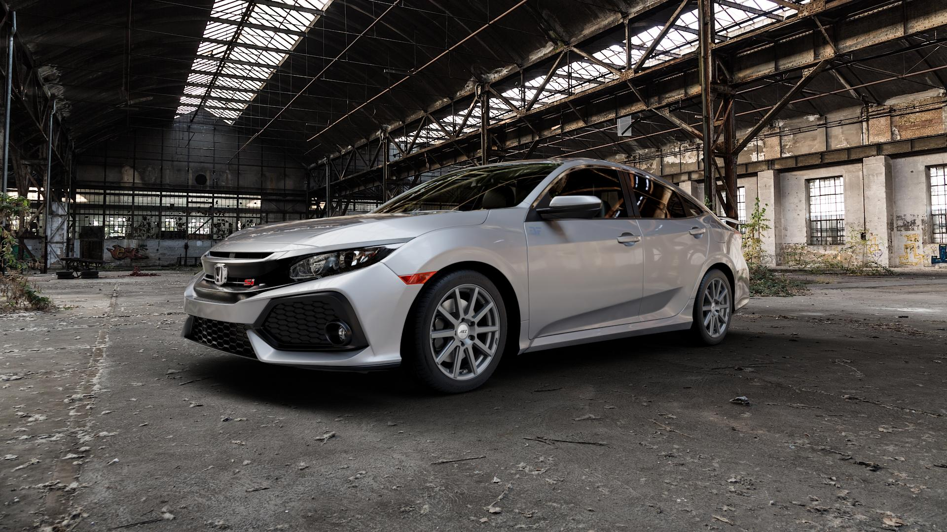 AEZ Straight Graphite matt Felge mit Reifen grau in 17Zoll Winterfelge Alufelge auf silbernem Honda Civic 10 Schrägheck (FC) ⬇️ mit 15mm Tieferlegung ⬇️ Industriehalle 1 Camera_000