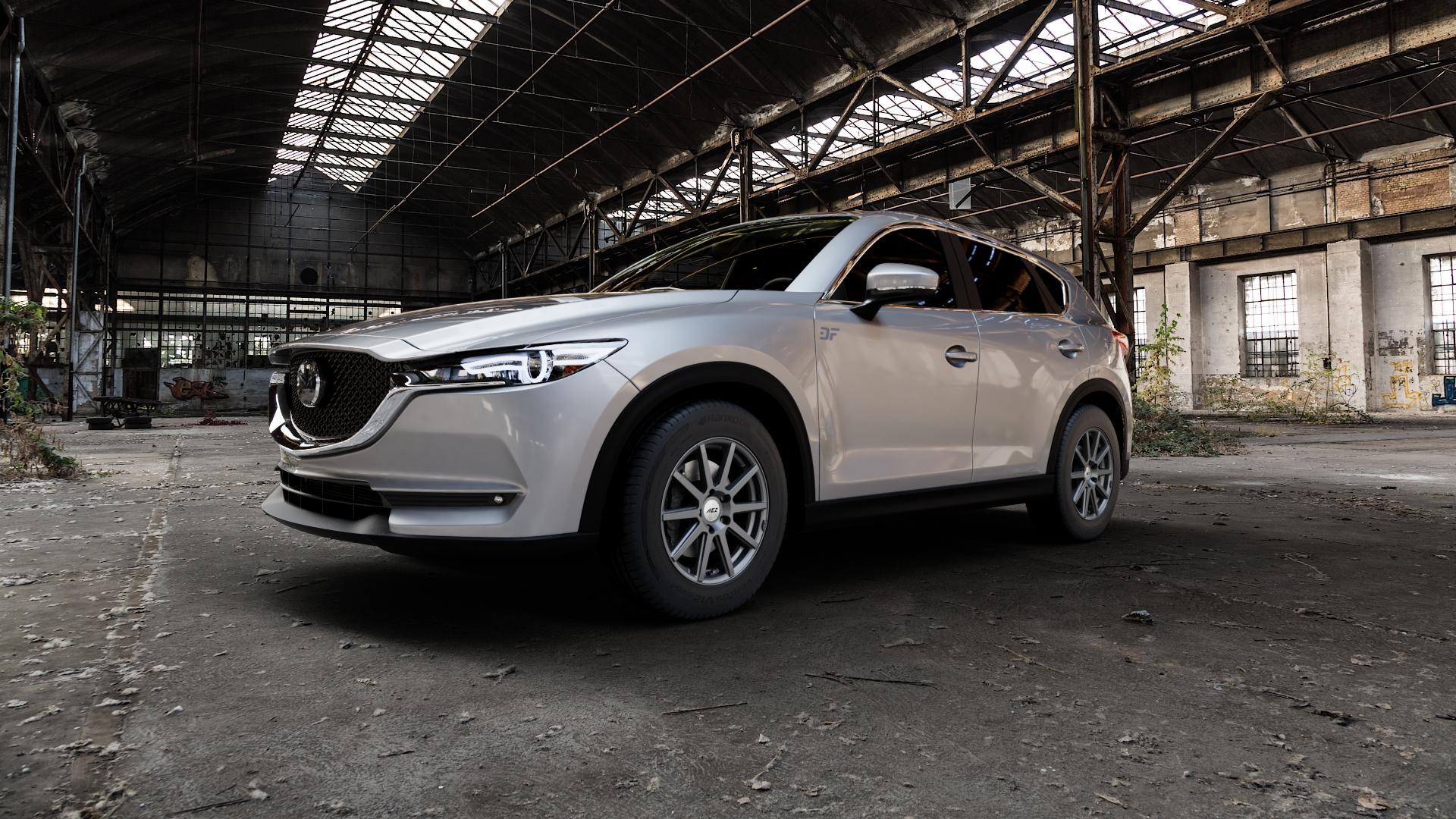 AEZ Straight Graphite matt Felge mit Reifen grau in 17Zoll Winterfelge Alufelge auf silbernem Mazda CX-5 Typ KF ⬇️ mit 15mm Tieferlegung ⬇️ Industriehalle 1 Camera_000