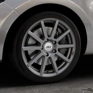 AEZ Straight Graphite matt Felge mit Reifen grau in 17Zoll Winterfelge Alufelge auf silbernem Renault Clio IV Typ R ⬇️ mit 15mm Tieferlegung ⬇️ Industriehalle 1 Thumbnail