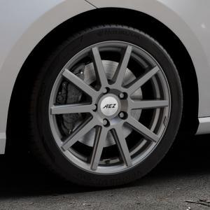 AEZ Straight Graphite matt Felge mit Reifen grau in 17Zoll Winterfelge Alufelge auf silbernem Seat Ibiza V Typ KJ ⬇️ mit 15mm Tieferlegung ⬇️ Industriehalle 1 Thumbnail
