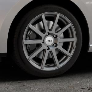 AEZ Straight Graphite matt Felge mit Reifen grau in 17Zoll Winterfelge Alufelge auf silbernem Seat Leon Typ 5F ST Facelift ⬇️ mit 15mm Tieferlegung ⬇️ Industriehalle 1 Thumbnail