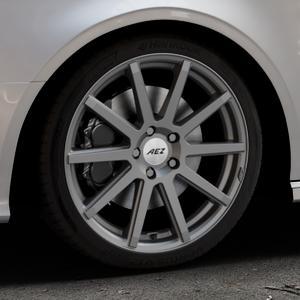 AEZ Straight Graphite matt Felge mit Reifen grau in 18Zoll Winterfelge Alufelge auf silbernem Audi A3 Typ 8V (Cabriolet) ⬇️ mit 15mm Tieferlegung ⬇️ Industriehalle 1 Thumbnail
